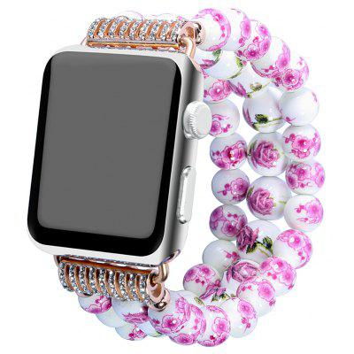 Buy PINK Fashion Handmade Elastic Stretch Faux Pearl Natural Stone Bracelet Replacement Women Girls for Apple Watch Series 2 / 1 All Version 38MM for $17.08 in GearBest store