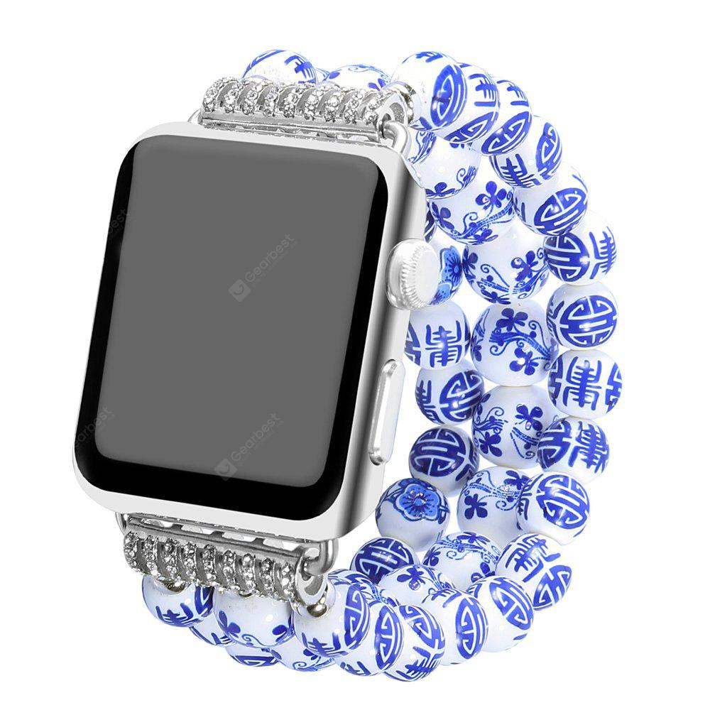 BLUE Fashion Handmade Elastic Stretch Faux Pearl Natural Stone Bracelet Replacement Women Girls for Apple Watch Series 2 / 1 All Version 38MM