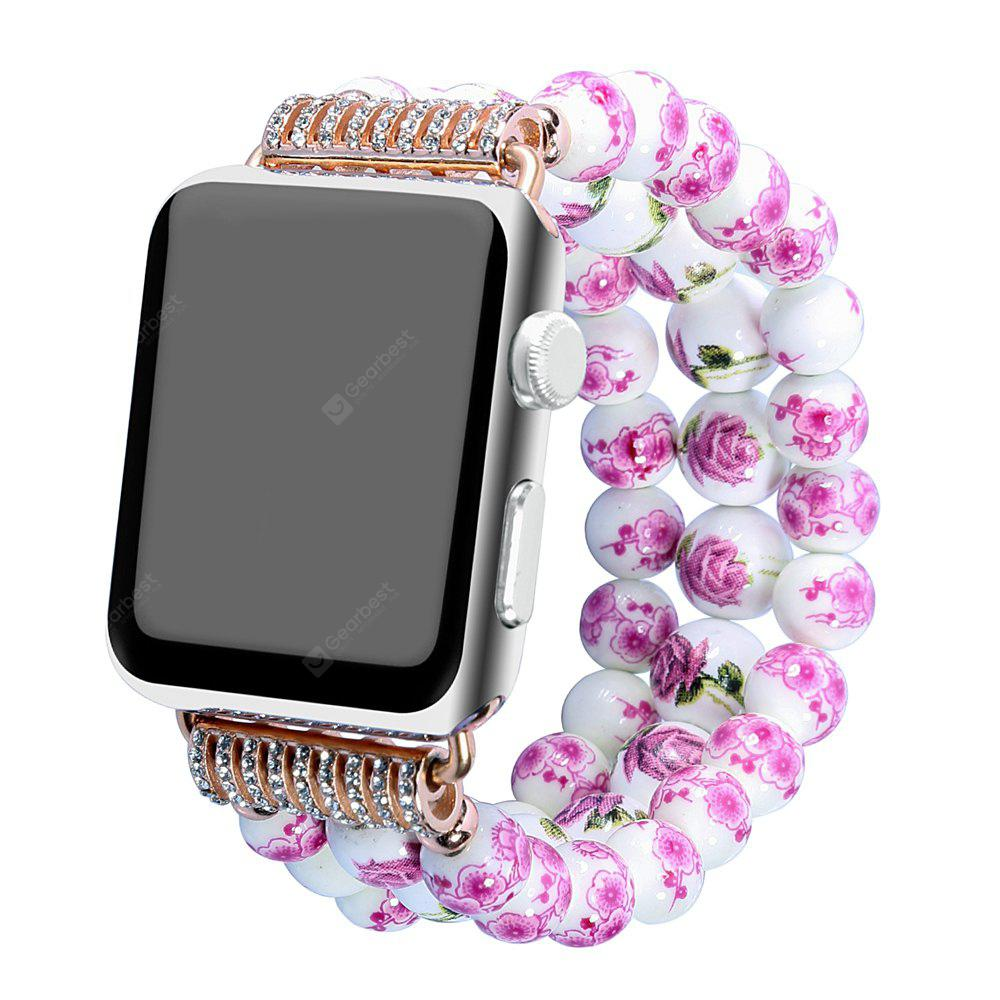 PINK Fashion Handmade Elastic Stretch Faux Pearl Natural Stone Bracelet Replacement Women Girls for Apple Watch Series 2 / 1 All Version 38MM