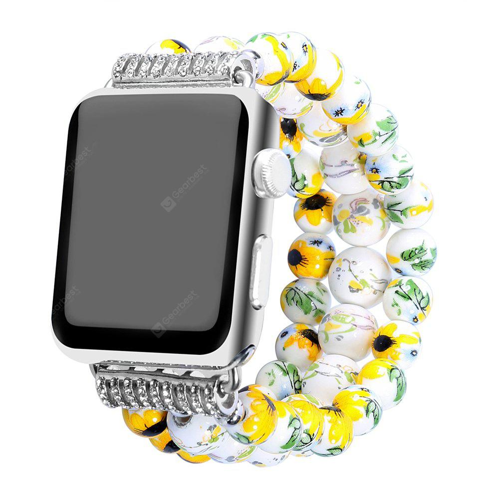 YELLOW Fashion Handmade Elastic Stretch Faux Pearl Natural Stone Bracelet Replacement Women Girls for Apple Watch Series 2 / 1 All Version 38MM