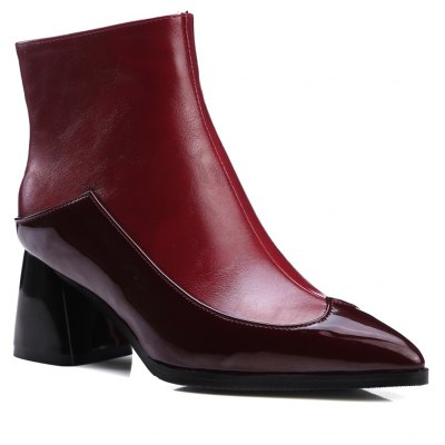 Buy RED 39 Women's Martin Boots All Match Comfy Color Patchwork Side Zipper for $56.24 in GearBest store
