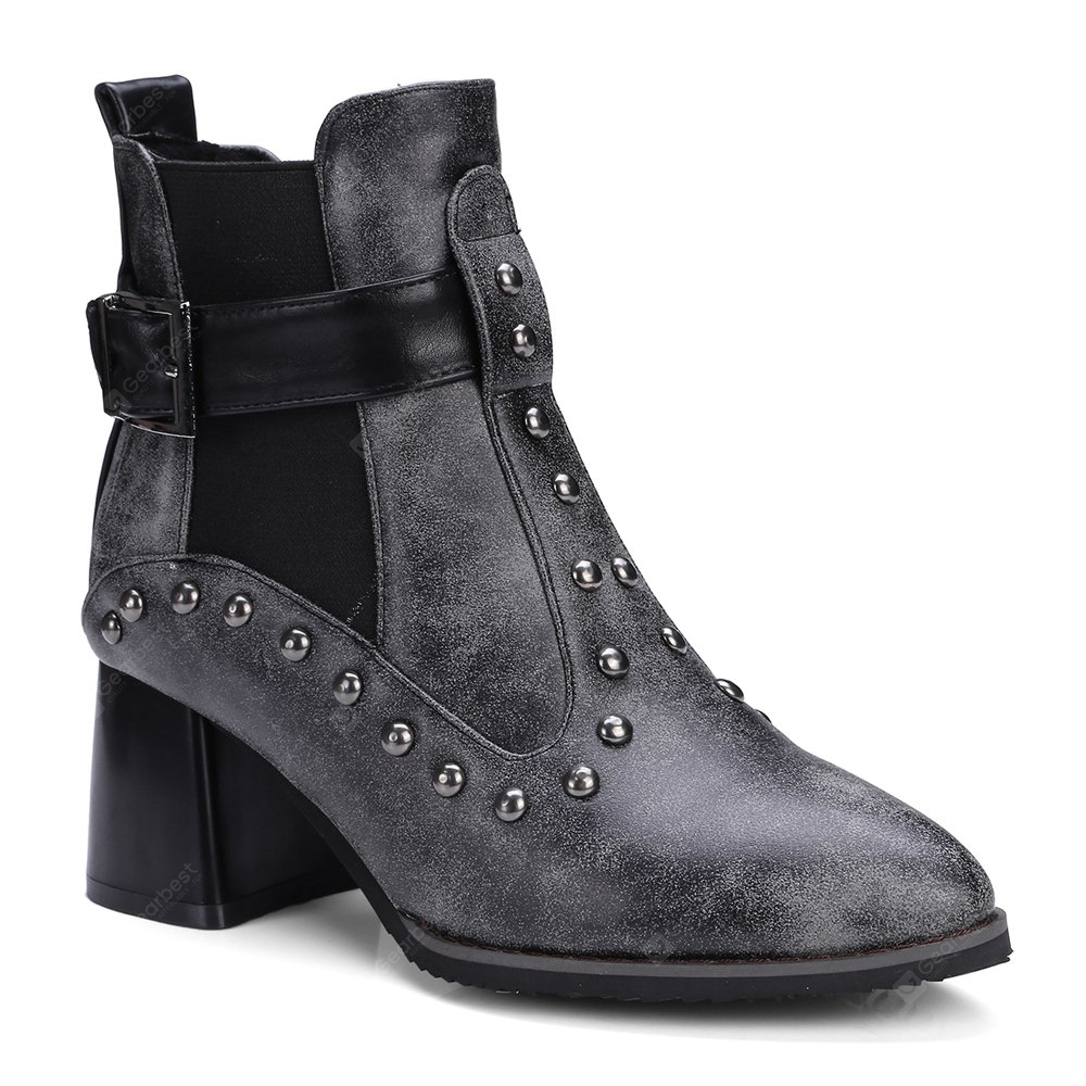 Women's Vogue Pointed Toe Rivet Ornament Casual Boots