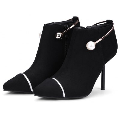 Womens Ankle Boots Side Zipper Pointed Toe Thin Heels ShoesWomens Boots<br>Womens Ankle Boots Side Zipper Pointed Toe Thin Heels Shoes<br><br>Boot Height: Ankle<br>Boot Tube Circumference: 25<br>Boot Tube Height: 6.5<br>Boot Type: Fashion Boots<br>Closure Type: Zip<br>Embellishment: Beading<br>Gender: For Women<br>Heel Height: 9<br>Heel Height Range: High(3-3.99)<br>Heel Type: Stiletto Heel<br>Package Contents: 1 x Shoes<br>Pattern Type: Striped<br>Season: Winter, Spring/Fall<br>Toe Shape: Pointed Toe<br>Upper Material: Flock<br>Weight: 1.6588kg
