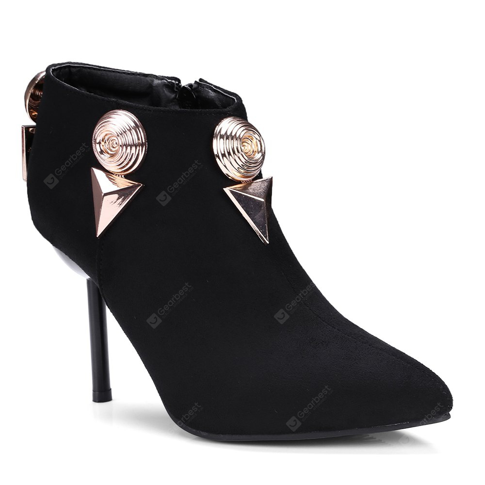 Women's Ankle Boots Metal Ornament Thin-Heeled Boots