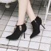 Women's Ankle Boots Metal Ornament Thin-Heeled Boots - BLACK