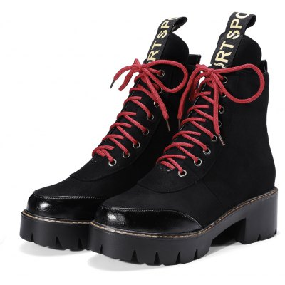Womens Martin Boots Color Block Square Heel Faddish Lacing ShoesWomens Boots<br>Womens Martin Boots Color Block Square Heel Faddish Lacing Shoes<br><br>Boot Height: Ankle<br>Boot Tube Height: 13<br>Boot Type: Riding/Equestrian<br>Closure Type: Lace-Up<br>Gender: For Women<br>Heel Height: 5<br>Heel Height Range: Med(1.75-2.75)<br>Heel Type: Chunky Heel<br>Package Contents: 1 x Shoes<br>Pattern Type: Patchwork<br>Platform Height: 2.5<br>Season: Spring/Fall, Winter<br>Toe Shape: Round Toe<br>Upper Material: Flock<br>Weight: 1.6588kg