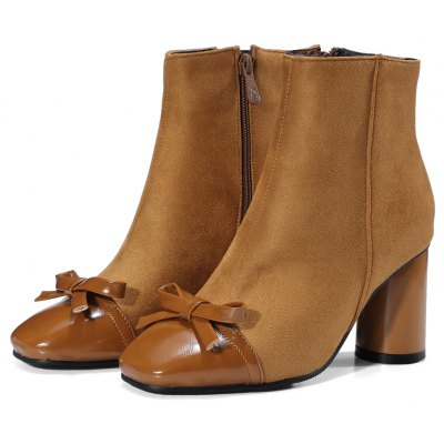 Womens Boots Solid Color Bow Knot Decorate Side Zipper Fashion Ankle BootsWomens Boots<br>Womens Boots Solid Color Bow Knot Decorate Side Zipper Fashion Ankle Boots<br><br>Boot Height: Ankle<br>Boot Tube Height: 12<br>Boot Type: Fashion Boots<br>Closure Type: Zip<br>Embellishment: Bow<br>Gender: For Women<br>Heel Height: 7<br>Heel Height Range: Med(1.75-2.75)<br>Heel Type: Chunky Heel<br>Package Contents: 1 x Shoes<br>Pattern Type: Patchwork<br>Season: Spring/Fall, Winter<br>Toe Shape: Square Toe<br>Upper Material: PU<br>Weight: 1.6588kg