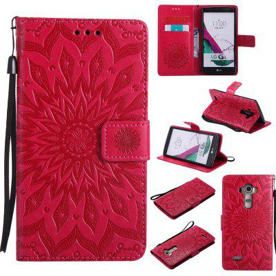 Buy RED Yanxn Sun Flower Printing Design Pu Leather Flip Wallet Lanyard Protective Case for LG G4 for $6.48 in GearBest store