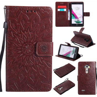 Buy BROWN Yanxn Sun Flower Printing Design Pu Leather Flip Wallet Lanyard Protective Case for LG G4 for $6.48 in GearBest store