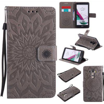 Buy GRAY Yanxn Sun Flower Printing Design Pu Leather Flip Wallet Lanyard Protective Case for LG G4 for $6.48 in GearBest store