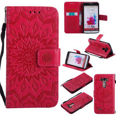 Buy RED Yanxn Sun Flower Printing Design Pu Leather Flip Wallet Lanyard Protective Case for LG G3 for $6.48 in GearBest store