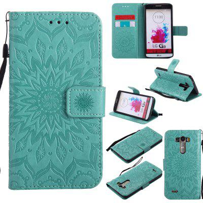 Buy GREEN Yanxn Sun Flower Printing Design Pu Leather Flip Wallet Lanyard Protective Case for LG G3 for $6.48 in GearBest store