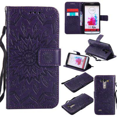 Buy PURPLE Yanxn Sun Flower Printing Design Pu Leather Flip Wallet Lanyard Protective Case for LG G3 for $6.48 in GearBest store