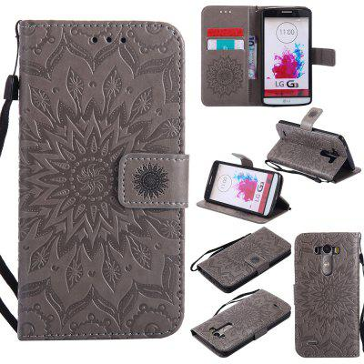 Buy GRAY Yanxn Sun Flower Printing Design Pu Leather Flip Wallet Lanyard Protective Case for LG G3 for $6.48 in GearBest store