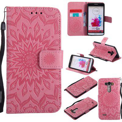 Buy PINK Yanxn Sun Flower Printing Design Pu Leather Flip Wallet Lanyard Protective Case for LG G3 for $6.48 in GearBest store