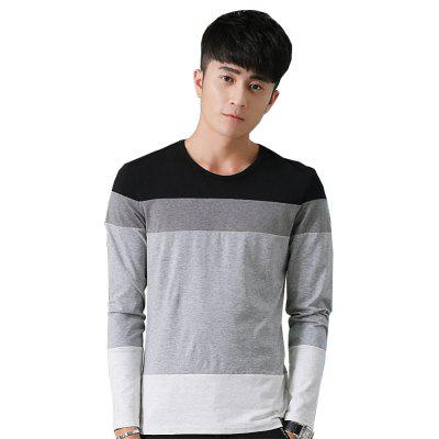 Buy BLACK L Mens Hit Color Round Neck Long Sleeve Slim T-Shirt for $18.74 in GearBest store