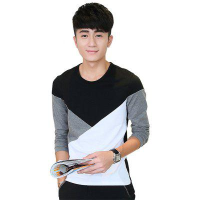 Buy BLACK L Mens Hit Color Geometric Long Sleeve Slim Round Neck T-Shirt for $18.36 in GearBest store