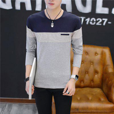 Mens Fashion Spell Color Stripe  Long sleeve T-shirtMens T-shirts<br>Mens Fashion Spell Color Stripe  Long sleeve T-shirt<br><br>Collar: Round Neck<br>Material: Cotton<br>Package Contents: 1 x T-shirt<br>Pattern Type: Striped<br>Sleeve Length: Full<br>Style: Casual<br>Weight: 0.2000kg