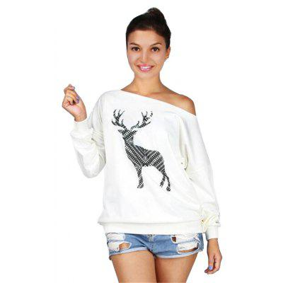Women's Large Size Clothing Reindeer Printing Inclined Shoulde Long Sleeve Sweater