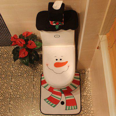 Buy WHITE Creative Christmas Decoration 3PCS Snowman Toilet Cover Sets for $11.57 in GearBest store