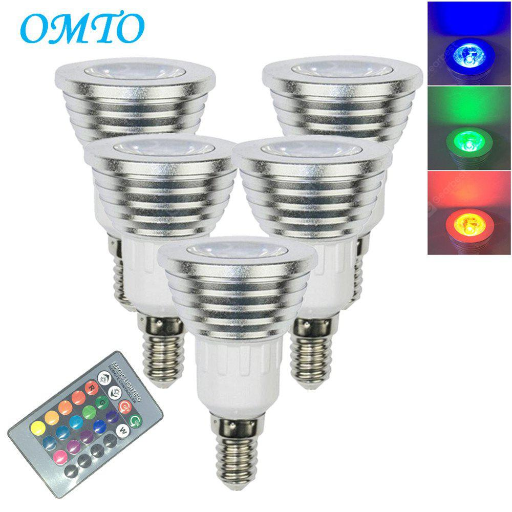 OMTO 5PCS E14 3W RGB 16 Color Changing Spotlight with IR Remote Control Mood Ambiance Lighting