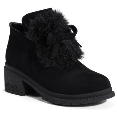Buy BLACK 36 Women's Snow Boots Bowknot Decorative Solid Color Shoes for $55.25 in GearBest store
