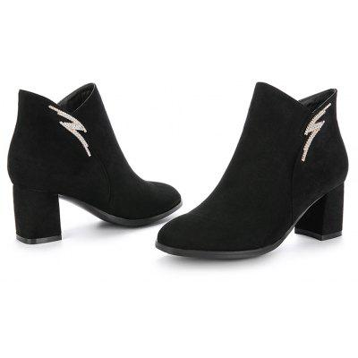 Womens Bottine Trendy Round Toe Zipper ShoesWomens Boots<br>Womens Bottine Trendy Round Toe Zipper Shoes<br><br>Boot Height: Ankle<br>Boot Tube Height: 10<br>Boot Type: Fashion Boots<br>Closure Type: Zip<br>Gender: For Women<br>Heel Height: 6<br>Heel Height Range: Med(1.75-2.75)<br>Heel Type: Chunky Heel<br>Package Contents: 1 x Shoes<br>Pattern Type: Solid<br>Season: Spring/Fall, Winter<br>Toe Shape: Round Toe<br>Upper Material: Flock<br>Weight: 1.6588kg