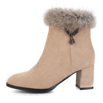 Womens Snow Boots Plain Style Side Zipper Round Toe ShoesWomens Boots<br>Womens Snow Boots Plain Style Side Zipper Round Toe Shoes<br><br>Boot Height: Ankle<br>Boot Tube Height: 11.5<br>Boot Type: Fashion Boots<br>Closure Type: Zip<br>Gender: For Women<br>Heel Height: 6<br>Heel Height Range: Med(1.75-2.75)<br>Heel Type: Chunky Heel<br>Package Contents: 1 x Shoes<br>Pattern Type: Solid<br>Season: Spring/Fall, Winter<br>Toe Shape: Round Toe<br>Upper Material: Flock<br>Weight: 1.6588kg