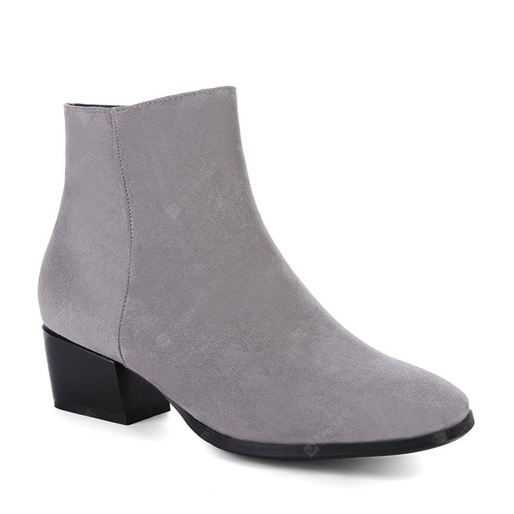 GRAY 34 Women's Snow Boots Solid Color Low Heeled Fashion Boots