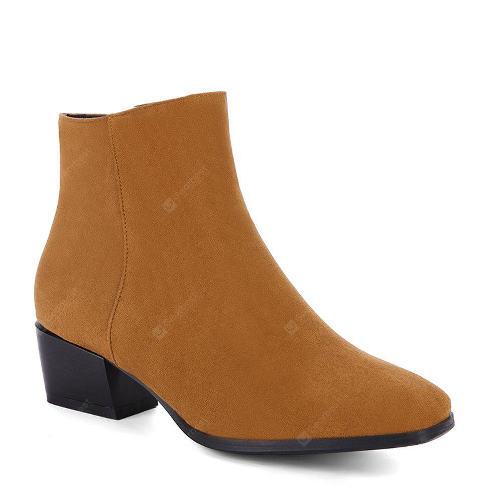 YELLOW 34 Women's Snow Boots Solid Color Low Heeled Fashion Boots
