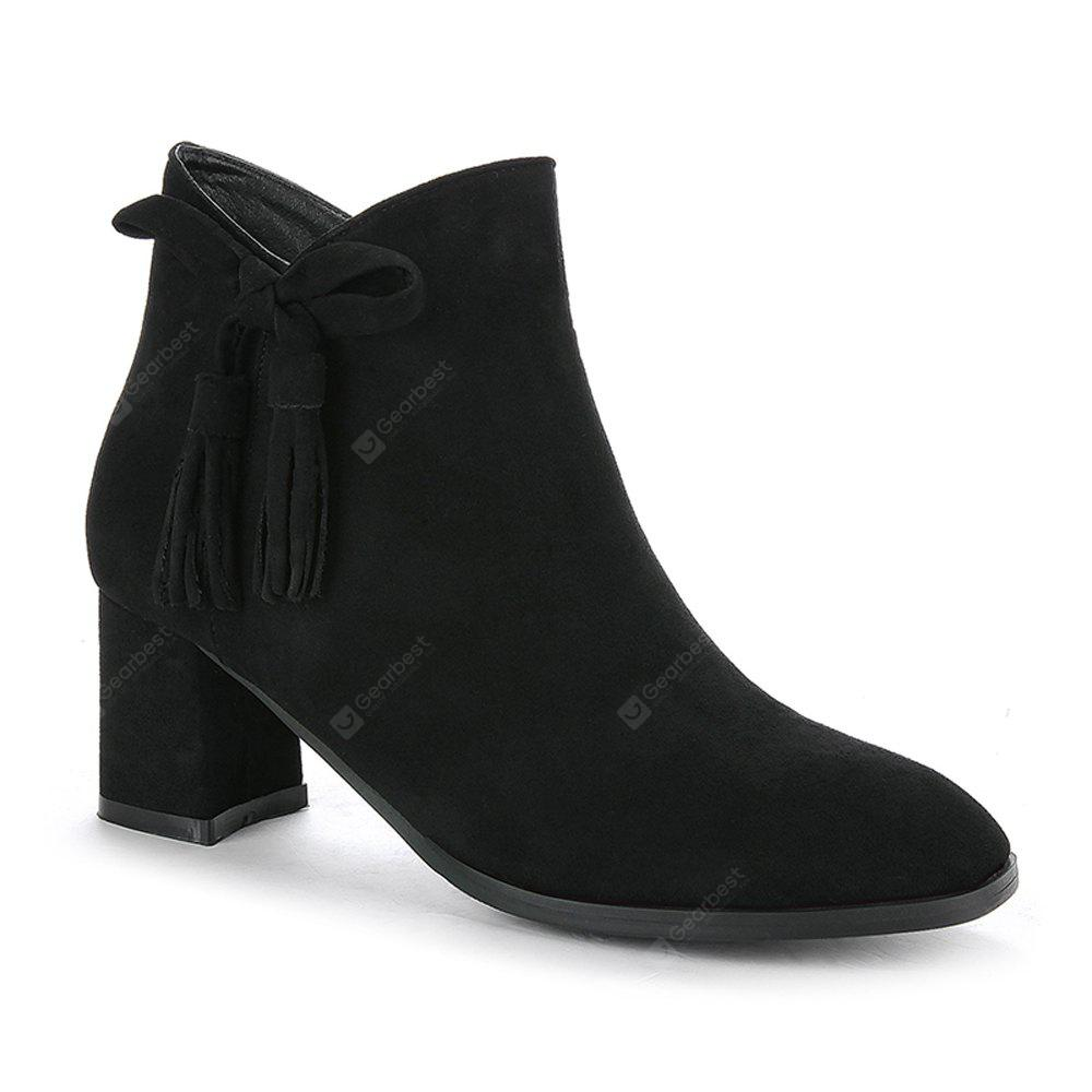 BLACK 34 Women's Bowknot Decorative All Match Boots