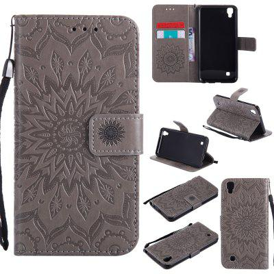 Buy GRAY Yanxn Sun Flower Printing Design Pu Leather Flip Wallet Lanyard Protective Case for Lg X Power for $6.48 in GearBest store