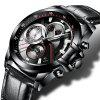 C9016 Quartz Fashion Sports Stainless Steel Male Watch - BLACK + LEATHER BAND