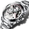 C9016 Quartz Fashion Sports Stainless Steel Male Watch - SILVER + STEEL BAND