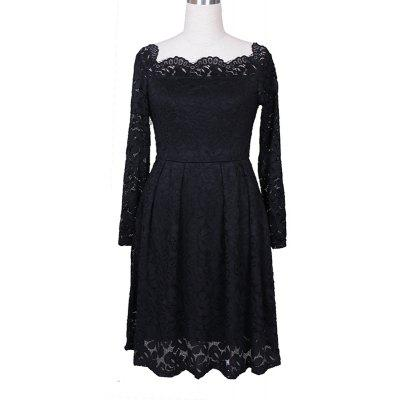 Buy BLACK 3XL Robe Femme Elegant Women Sexy Slash neck Autumn Embroidery Long Sleeve Lace Evening Party A Line Plus size Dresses for $29.52 in GearBest store