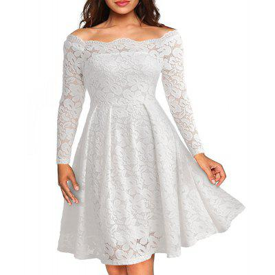 Buy WHITE 3XL Robe Femme Elegant Women Sexy Slash neck Autumn Embroidery Long Sleeve Lace Evening Party A Line Plus size Dresses for $29.52 in GearBest store