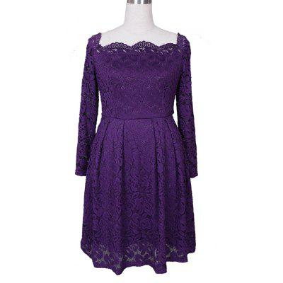 Buy PURPLE 3XL Robe Femme Elegant Women Sexy Slash neck Autumn Embroidery Long Sleeve Lace Evening Party A Line Plus size Dresses for $29.52 in GearBest store