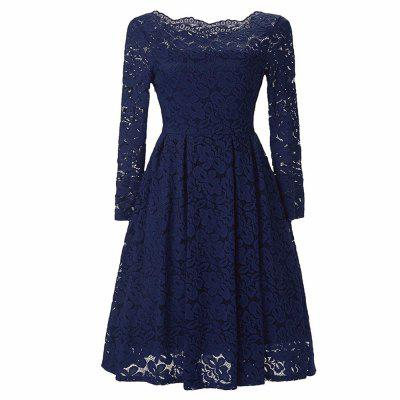 Buy DARK BLUE 3XL Robe Femme Elegant Women Sexy Slash neck Autumn Embroidery Long Sleeve Lace Evening Party A Line Plus size Dresses for $29.52 in GearBest store