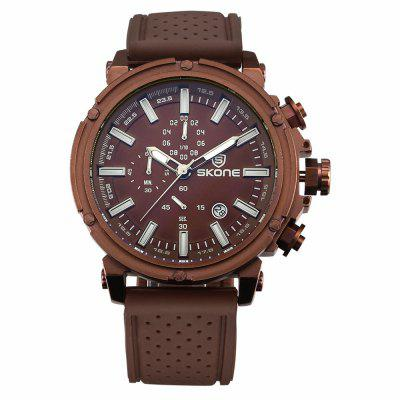 Buy COFFEE Skone 80189 3917 Sports Calendar Silicone Band Men Watch for $27.93 in GearBest store