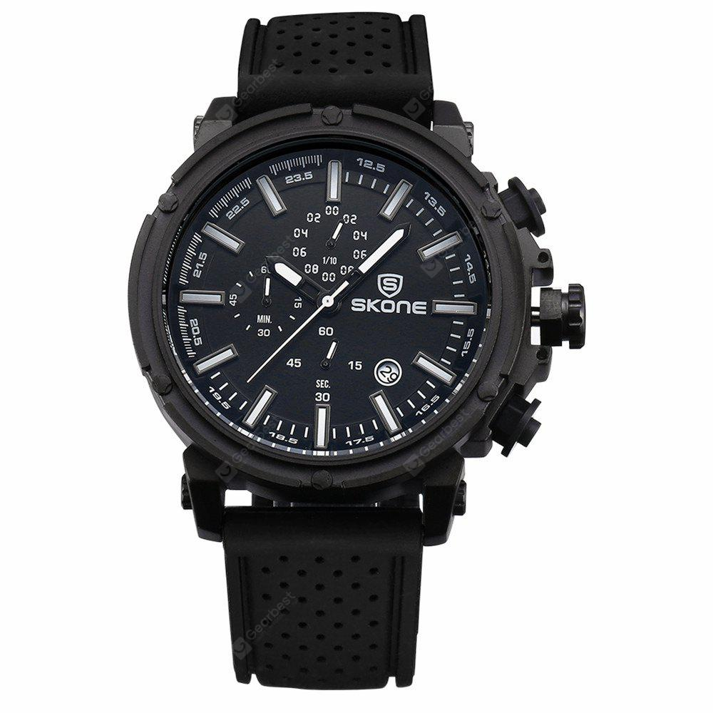 BLACK Skone 80189 3917 Sports Calendar Silicone Band Men Watch