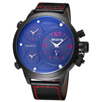 Buy RED Skone 9423EG 3790 Big Dial Male Quartz Movement Watch for $34.26 in GearBest store