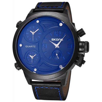 Buy BLUE Skone 9423EG 3790 Big Dial Male Quartz Movement Watch for $34.26 in GearBest store
