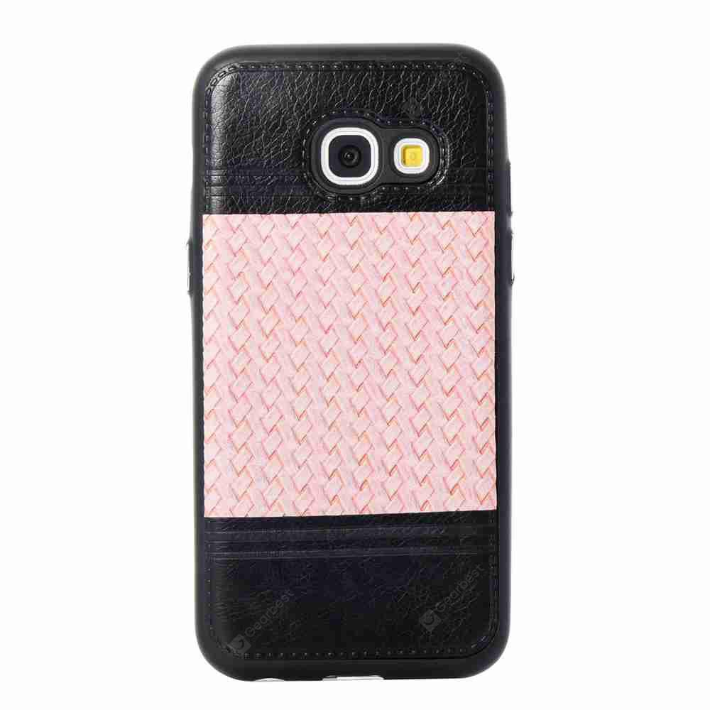 MARIGOLD Plating Button Two-Color Woven Pattern TPU Paste Skin Phone Case for Samsung Galaxy A3 2017