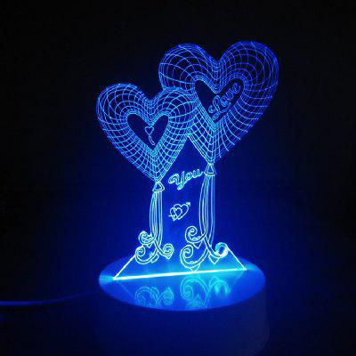 DSU 3D Lamp Double Love Hearts Touch Night LED Light