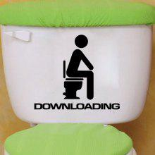 DSU Downloading Individual Toilet Sticker Bathroom Home Wall Decal
