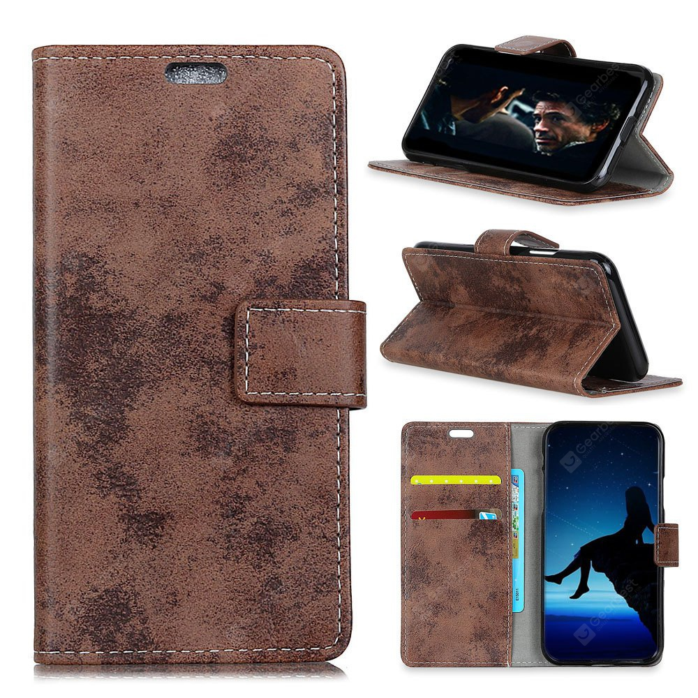 Durable Retro Style Solid Color Flip PU Leather Wallet Case for Motorola Moto X4