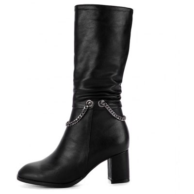 Womens Bottine Metal Chain Decor Elegant BootsWomens Boots<br>Womens Bottine Metal Chain Decor Elegant Boots<br><br>Boot Height: Mid-Calf<br>Boot Tube Circumference: 33<br>Boot Tube Height: 28<br>Boot Type: Fashion Boots<br>Closure Type: Zip<br>Embellishment: Chains<br>Gender: For Women<br>Heel Height: 6<br>Heel Height Range: Med(1.75-2.75)<br>Heel Type: Chunky Heel<br>Package Contents: 1 x Shoes<br>Pattern Type: Solid<br>Season: Winter, Spring/Fall<br>Toe Shape: Round Toe<br>Upper Material: PU<br>Weight: 1.6588kg