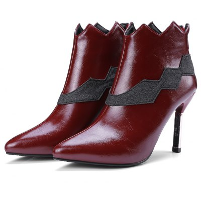Womens Bottine Pointed Toe Patchwork Colorblock Thin Heels BootsWomens Boots<br>Womens Bottine Pointed Toe Patchwork Colorblock Thin Heels Boots<br><br>Boot Height: Ankle<br>Boot Tube Height: 10<br>Boot Type: Fashion Boots<br>Closure Type: Zip<br>Embellishment: Ruffles<br>Gender: For Women<br>Heel Height: 9<br>Heel Height Range: High(3-3.99)<br>Heel Type: Stiletto Heel<br>Package Contents: 1 x Shoes<br>Pattern Type: Patchwork<br>Season: Spring/Fall, Winter<br>Toe Shape: Pointed Toe<br>Upper Material: PU<br>Weight: 1.6588kg