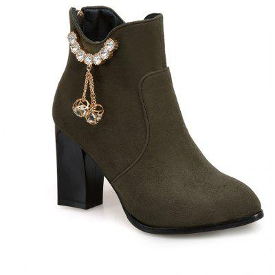 Women's Bottine Ladylike Rhinestone Buckle Pendant Solid Color Wedge Boots