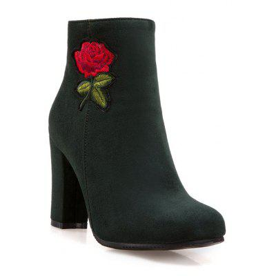 Women's Bottine Thick Heel Suede Elegant Rose Embroidery Decor Boots